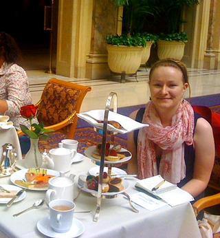 Kate Kendall at High Tea at the Palace Hotel, San Francisco