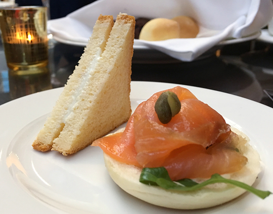 Millawa ashed goats cheese with rooftop honey sandwich and smoked salmon bagel