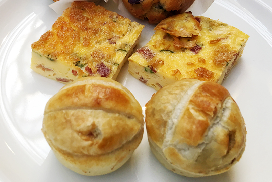Prosciutto and asparagus quiche and Wagyu beef pies