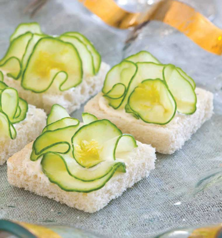 Cucumber Flower Canapes