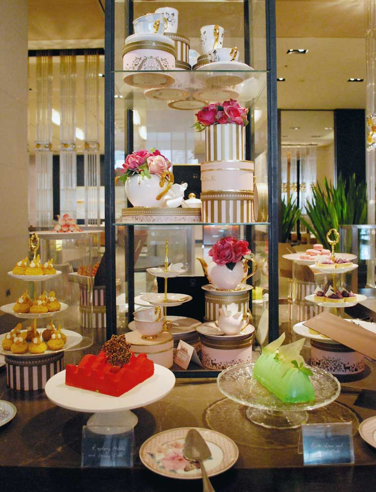 Cake table at the Grand Hyatt High Tea