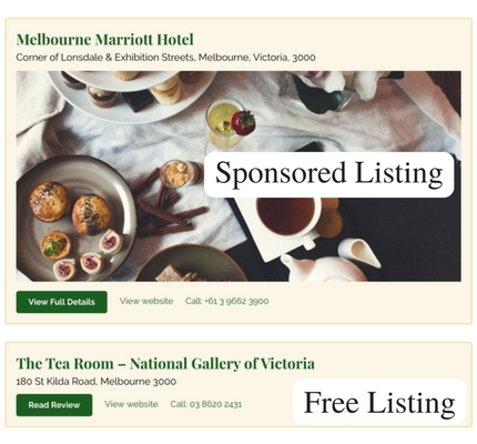 How the Sponsored & Free Listings appear