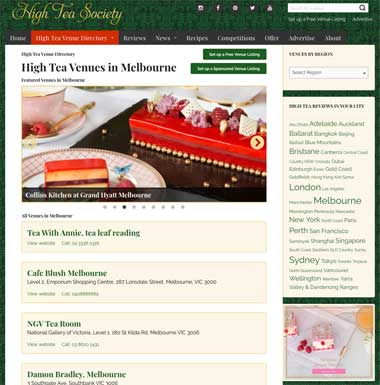 High Tea Society Venue Directory Search Results